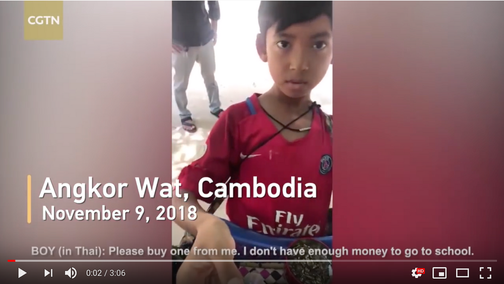 News clip of a boy asking you to buy items so he can go to school