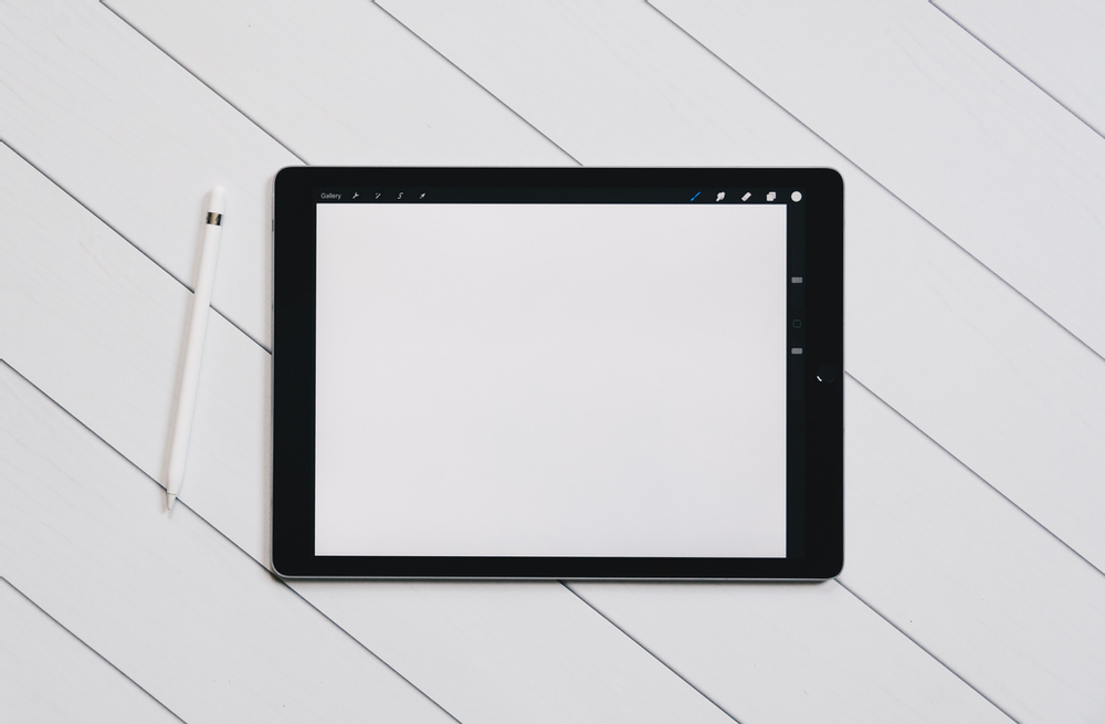 A tablet with a drawing application open on it