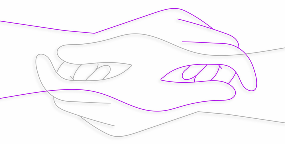 Two hands on top of each other outlined